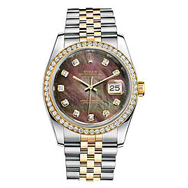 Rolex New Style Datejust Two Tone Custom Diamond Bezel & Black Mother of Pearl Diamond Dial on Jubilee Bracelet 36mm Unisex Watch