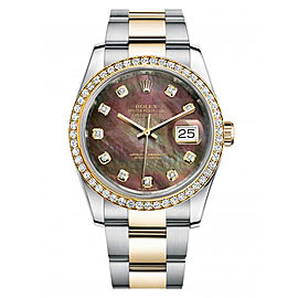 Rolex New Style Datejust Two Tone Custom Diamond Bezel & Black Mother of Pearl Diamond Dial on Oyster Bracelet 36mm Unisex Watch