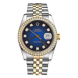 Rolex New Style Datejust Two Tone Custom Diamond Bezel & Blue Diamond Dial on Jubilee Bracelet 36mm Unisex Watch