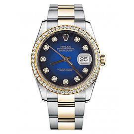 Rolex New Style Datejust Two Tone Custom Diamond Bezel & Blue Diamond Dial on Oyster Bracelet 36mm Unisex Watch