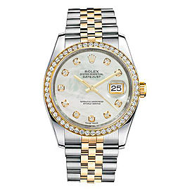 Rolex New Style Datejust Two Tone Custom Diamond Bezel & Mother of Pearl Diamond Dial on Jubilee Bracelet 36mm Unisex Watch