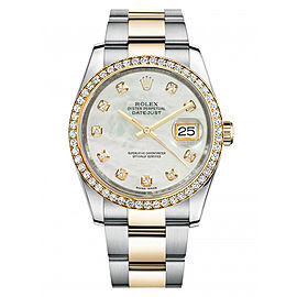 Rolex New Style Datejust Two Tone Custom Diamond Bezel & Mother of Pearl Diamond Dial on Oyster Bracelet 36mm Unisex Watch
