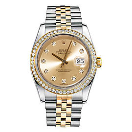 Rolex New Style Datejust Two Tone Custom Diamond Bezel & Champagne Diamond Dial on Jubilee Bracelet 36mm Unisex Watch