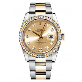 Rolex New Style Datejust Two Tone Custom Diamond Bezel & Champagne Diamond Dial on Oyster Bracelet 36mm Unisex Watch