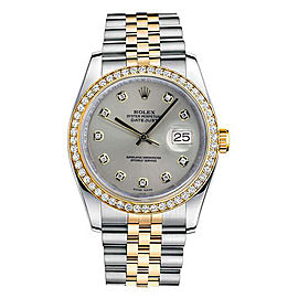 Rolex New Style Datejust Two Tone Custom Diamond Bezel & Silver Diamond Dial on Jubilee Bracelet 36mm Unisex Watch