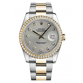 Rolex New Style Datejust Two Tone Custom Diamond Bezel & Silver Diamond Dial on Oyster Bracelet 36mm Unisex Watch