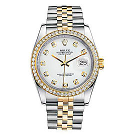 Rolex New Style Datejust Two Tone Custom Diamond Bezel & White Diamond Dial on Jubilee Bracelet 36mm Unisex Watch
