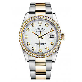 Rolex New Style Datejust Two Tone Custom Diamond Bezel & Custom White Diamond Dial on Oyster Bracelet 36mm Unisex Watch