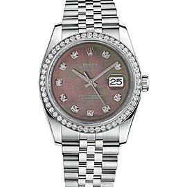 Rolex New Style Datejust Stainless Steel Custom Diamond Bezel & Black Mother of Pearl Diamond Dial on Jubilee Bracelet 36mm Unisex Watch