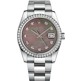 Rolex New Style Datejust Stainless Steel Custom Diamond Bezel & Black Mother of Pearl Diamond Dial on Oyster Bracelet 36mm Unisex Watch