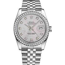 Rolex New Style Datejust Stainless Steel Custom Diamond Bezel & Mother of Pearl Diamond Dial on Jubilee Bracelet 36mm Unisex Watch
