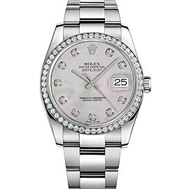 Rolex New Style Datejust Stainless Steel Custom Diamond Bezel & Mother of Pearl Diamond Dial on Oyster Bracelet 36mm Unisex Watch
