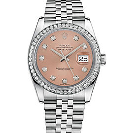 Rolex New Style Datejust Stainless Steel Custom Diamond Bezel & Pink Diamond Dial on Jubilee Bracelet 36mm Unisex Watch