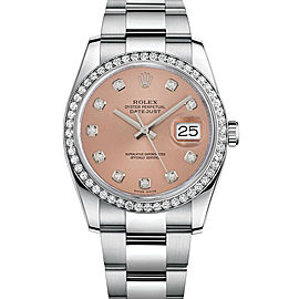 Rolex New Style Datejust Stainless Steel Custom Diamond Bezel & Pink Diamond Dial on Oyster Bracelet 36mm Unisex Watch