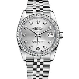 Rolex New Style Datejust Stainless Steel Custom Diamond Bezel & Silver Diamond Dial on Jubilee Bracelet 36mm Unisex Watch