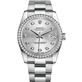 Rolex New Style Datejust Stainless Steel Custom Diamond Bezel & Silver Diamond Dial on Oyster Bracelet 36mm Unisex Watch