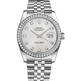 Rolex New Style Datejust Stainless Steel Custom Diamond Bezel & White Diamond Dial on Jubilee Bracelet 36mm Unisex Watch