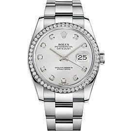 Rolex Datejust 116200 White Diamond Dial 36mm Mens Watch