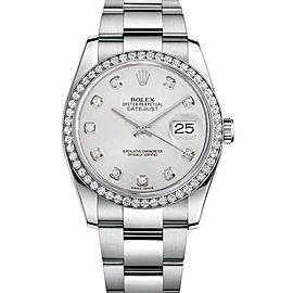 Rolex New Style Datejust Stainless Steel Custom Diamond Bezel & White Diamond Dial on Oyster Bracelet 36mm Unisex Watch