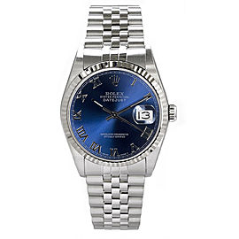 Rolex Men's Datejust Stainless Steel Blue Roman Dial