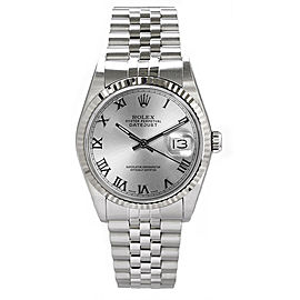 Rolex Men's Datejust Stainless Steel Silver Roman Dial 36 mm Men's Watch
