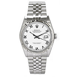 Rolex Men's Datejust Stainless Steel White Roman Dial 36 mm Men's Watch