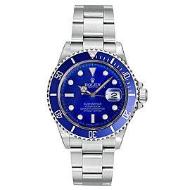 Rolex Submariner Steel Pre-Owned 16610 Custom Blue