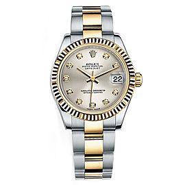 Rolex New Style Datejust Midsize Two Tone Fluted Bezel & Diamond Dial on Oyster Bracelet