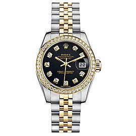 Rolex Women's New Style Two-Tone Datejust with Custom Diamond Bezel and Black Diamond Dial