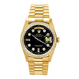 Rolex Men's President Yellow Gold Custom Diamond Bezel & Black Diamond Dial 36 mm Unisex Watch