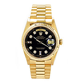 Rolex Men's President Yellow Gold Fluted Custom Black Diamond Dial 36 mm Unisex Watch