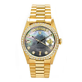Rolex Men's President Yellow Gold Custom Diamond Bezel & Mother of Pearl Diamond Dial 36 mm Unisex Watch
