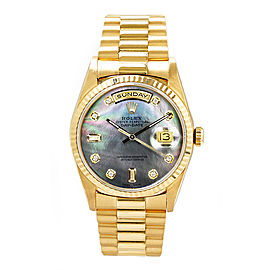 Rolex Men's President Yellow Gold Fluted Custom Dark Mother of Pearl Diamond Dial 36 mm Unisex Watch