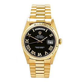 Rolex Men's President Yellow Gold Fluted Black Roman Dial 36 mm Unisex Watch