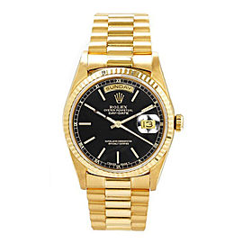 Rolex Men's President Yellow Gold Fluted Black Index Dial 36 mm Unisex Watch
