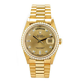 Rolex Men's President Yellow Gold Custom Diamond Bezel & Champagne Diamond Dial 36 mm Unisex Watch