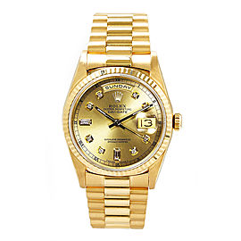 Rolex Men's President Yellow Gold Fluted Custom Champagne Diamond Dial 36 mm Unisex Watch