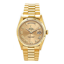 Rolex Men's President Yellow Gold Fluted Champagne Roman Dial 36 mm Unisex Watch