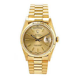 Rolex Men's President Yellow Gold Fluted Champagne Index Dial 36 mm Unisex Watch