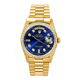 Rolex Men's President Yellow Gold Custom Diamond Bezel & Blue Diamond Dial 36 mm Unisex Watch