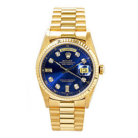 Rolex Men's President Yellow Gold Fluted Custom Blue Diamond Dial 36 mm Unisex Watch