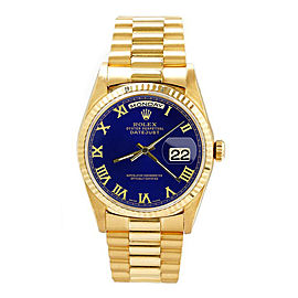 Rolex Men's President Yellow Gold Fluted Blue Roman Dial 36 mm Unisex Watch