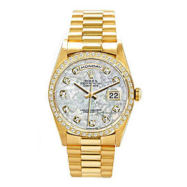 Rolex Men's President Yellow Gold Custom Mother of Pearl Diamond Dial and Diamond Bezel 36 mm Unisex Watch