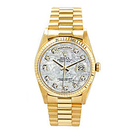 Rolex Men's President Yellow Gold Custom Fluted Mother of Pearl Diamond Dial 36 mm Unisex Watch