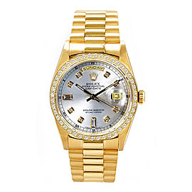 Rolex Men's President Yellow Gold Custom Diamond Bezel & Silver Diamond Dial 36 mm Unisex Watch