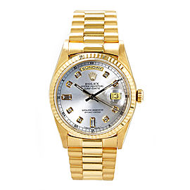 Rolex Men's President Yellow Gold Fluted Custom Silver Diamond Dial 36 mm Unisex Watch