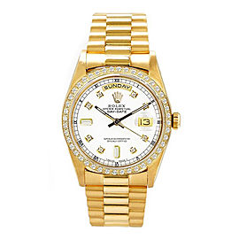 Rolex Men's President Yellow Gold Custom Diamond Bezel & White Diamond Dial 36 mm Unisex Watch