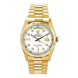 Rolex Men's President Yellow Gold Fluted Custom White Diamond Dial 36 mm Unisex Watch