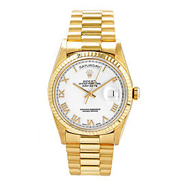 Rolex Men's President Yellow Gold Fluted White Roman Dial 36 mm Unisex Watch