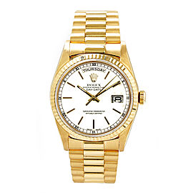 Rolex Men's President Yellow Gold Fluted White Index Dial 36 mm Unisex Watch